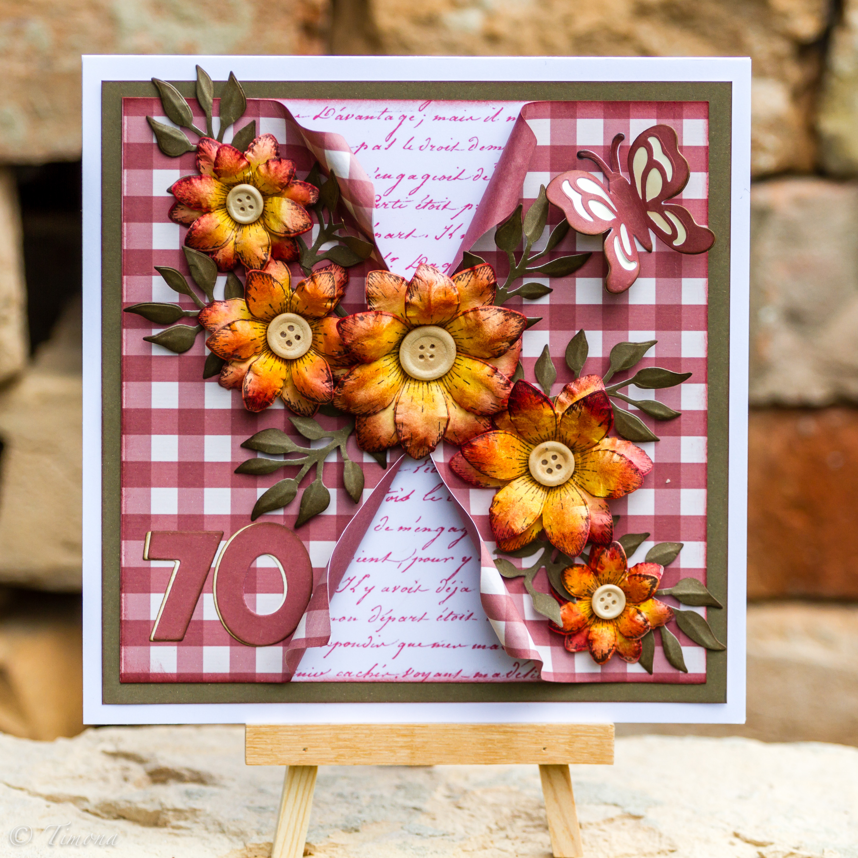 Card with handmade flowers